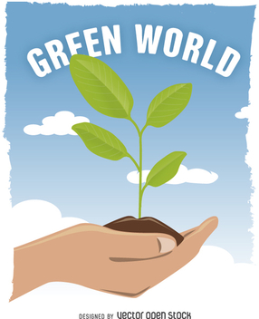 Hands holding green growing plant - Free vector #360759