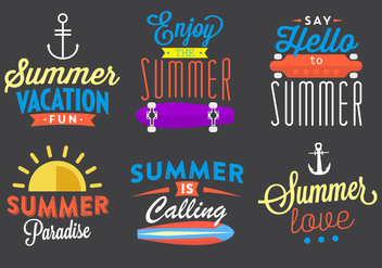 Typographic Summer Vector Elements - Free vector #361129
