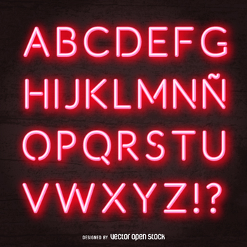 Red neon alphabet vector - Free vector #361339