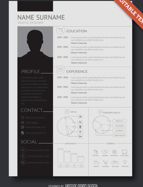 Flat design resume template - Free vector #361709