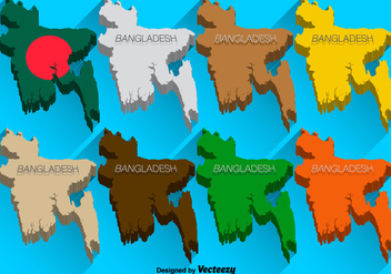 Vector 3D Icons Set Of Bangladesh Map - Free vector #362529