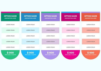 Free Pricing Table Vector - vector #362679 gratis