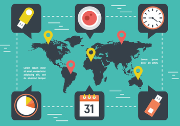 Free World Map With Marketing Elements Vector - бесплатный vector #362789