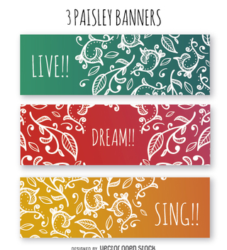Colorful paisley banner set - vector #363249 gratis