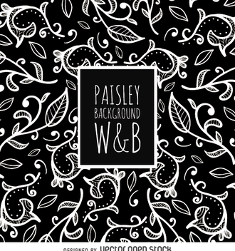 Seamless paisley pattern in black and white - Free vector #363619