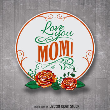 Floral Happy Mother's Day badge - Free vector #363759