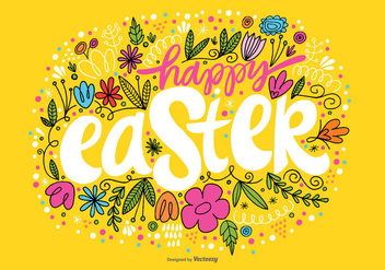 Hand Drawn Happy Easter Vector - Kostenloses vector #363989