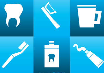 Mouth Care White Icons - vector gratuit #364209