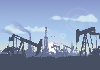 Oil Field Landscape Illustration Vector - vector gratuit(e) #364339