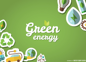 Eco friendly poster with stickers - vector gratuit #364409