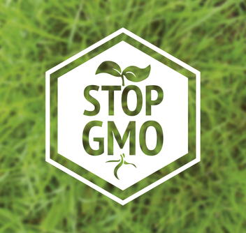 Stop GMO label on polygonal frame - Free vector #364419