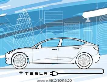 Tesla car wallpaper in blue tones - vector gratuit #364469
