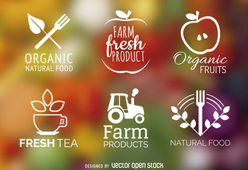 Organic and natural food label set - Free vector #365209