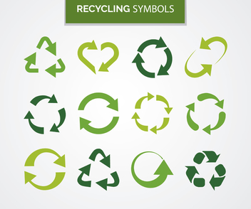 Collection of recycling symbols - vector #365439 gratis