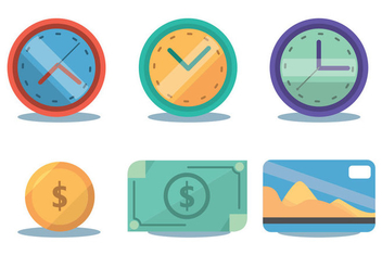 Time Zone And Money Vector Set - Free vector #366149