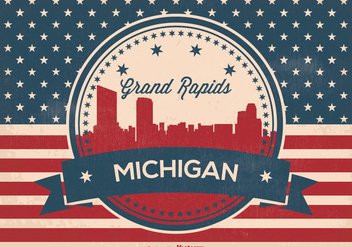Retro Grand Rapids Michigan Skyline Illustration - Free vector #366479
