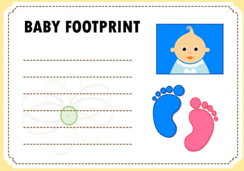Baby Footprint Card Invitation Vector - Free vector #366489