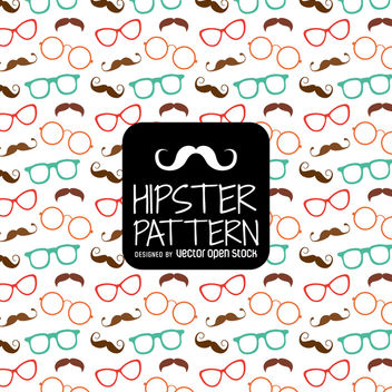Hipster glasses moustache pattern - vector gratuit #366639