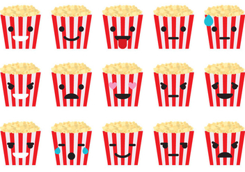 Popcorn Box Emoticons - Free vector #366859