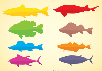 Colorful Silhouette Fish Vector - Free vector #367629