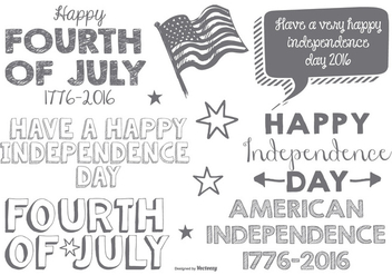 Cute Sketchy Fouth of July Typographic Labels - Free vector #368089