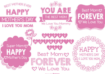 Cute Hand Drawn Style Mother's Day Labels - Kostenloses vector #368159