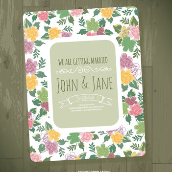 Floral wedding invitation template - Free vector #368169
