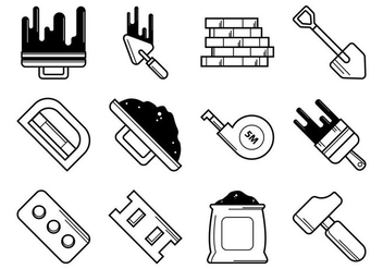 Bricklayer Tools Icon Vector - Free vector #368309