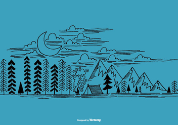 Hand Drawn Outdoor Camping Scene Vector - Free vector #368549