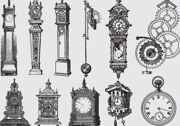 Old Style Drawing Clocks - vector gratuit #368709