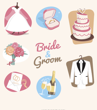 Wedding elements illustration set - Free vector #369229
