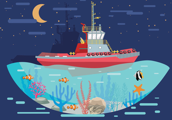 Tugboat Landscape Vector - бесплатный vector #369389