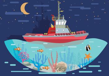 Tugboat Landscape Vector - Free vector #369389