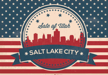 Retro Salt Lake City Skyline Illustration - vector gratuit #369589