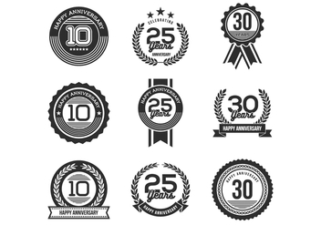 Free Anniversary Badges Vectors - бесплатный vector #369679