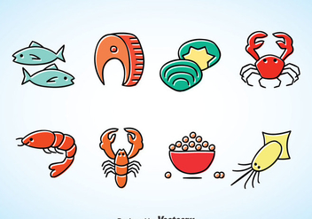 Seafood Cartoon Vector - бесплатный vector #370409