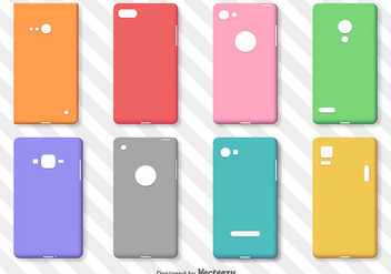 Set Of Simple Colorful Phone Cases Vector - Free vector #370969