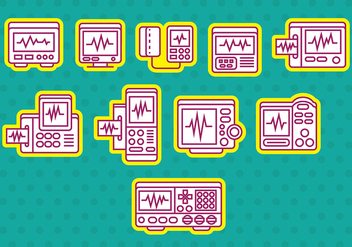 Heart Monitor Icons - vector gratuit #371059