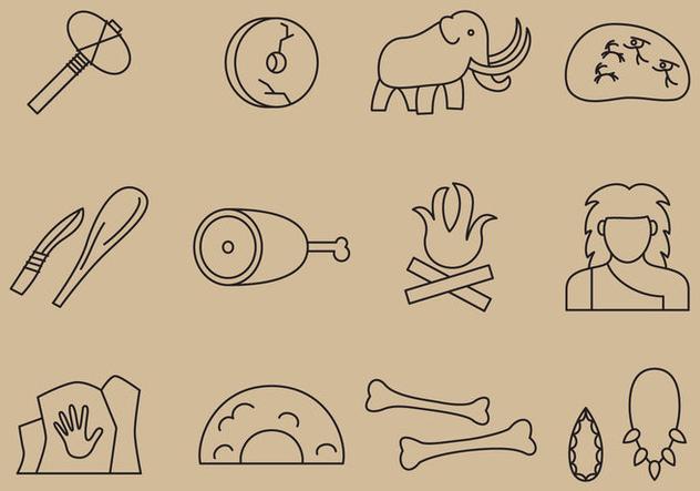 Prehistoric Line Icons - бесплатный vector #371349