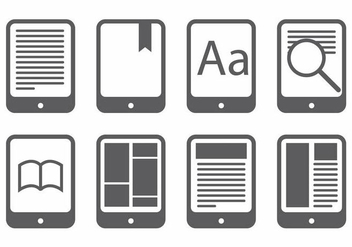 E Reader Icon Set - vector gratuit(e) #371749
