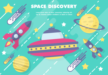 Free Flat Space Vector Illustration With Space Ship - Kostenloses vector #371839