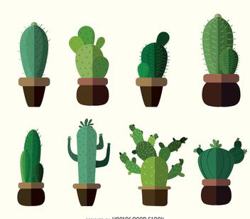Flat cactus drawings - бесплатный vector #372529