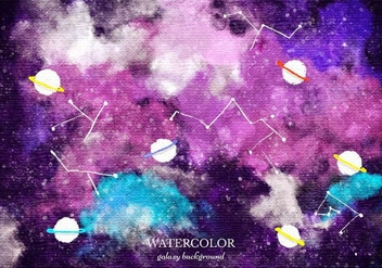 Free Vector Watercolor Galaxy Background - Free vector #372619
