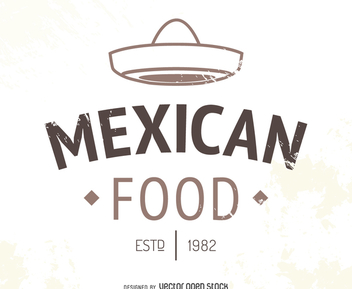 Mexican restaurant logo with hat - Free vector #372739