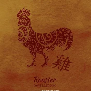 Chinese horoscope rooster drawing - бесплатный vector #373039