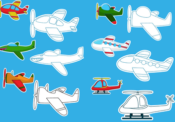 Coloring The Aeroplane Vectors - Free vector #373769