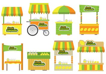 Lemonade stand icons - vector gratuit #373819