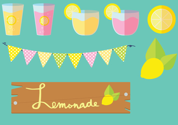 Lemonade Stand Vector Graphic Set - Free vector #373959