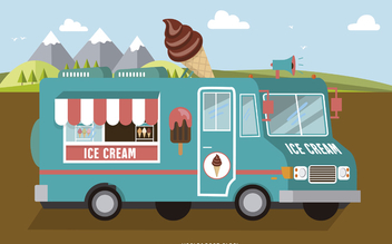 Light-blue ice-cream foodtruck - бесплатный vector #373989