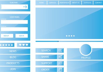 Template Blue Web Kit - vector #374169 gratis